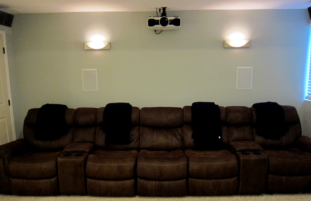 Wall Sconces In Basement : Finish Basement Home Theater - Before and After Pictures