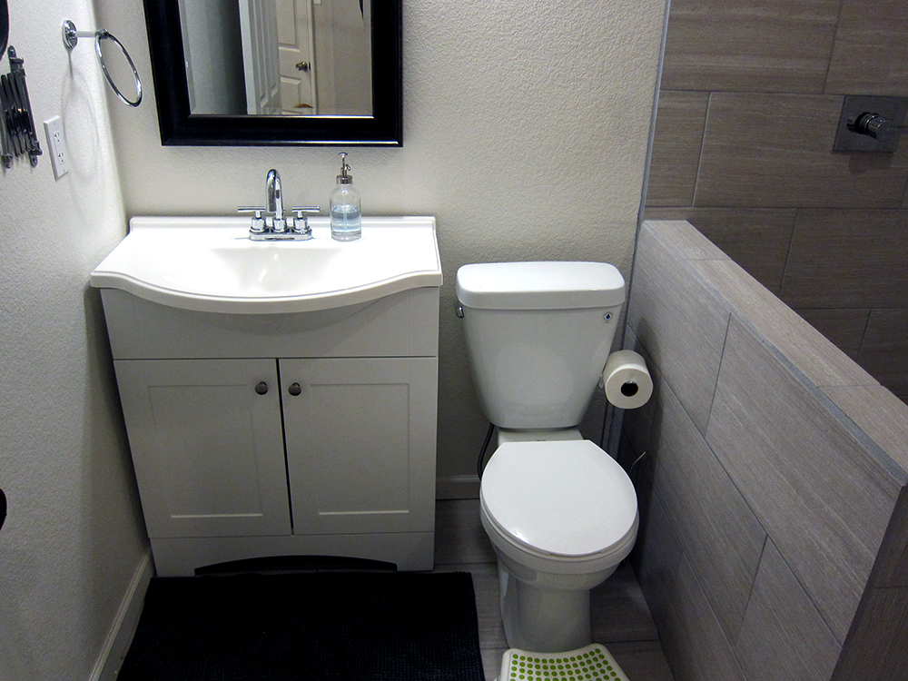 How to finish a basement bathroom before and after pictures for Photographs of bathrooms