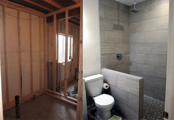 How to finish a basement bathroom before and after pictures for Finished bathroom ideas