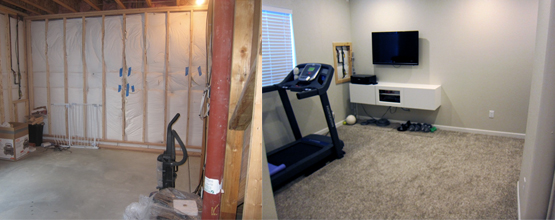 Finish a Bat Workout Area - Before and After Pictures on storage decorating ideas, recreation room decorating ideas, extra bedroom additions, extra room ideas, full bath decorating ideas, extra bedroom construction, living area decorating ideas, dining area decorating ideas, sun room decorating ideas, game room decorating ideas, study decorating ideas, great room decorating ideas, portable cabins decorating ideas, entertainment room decorating ideas, workshop decorating ideas, guest bedroom ideas, hobby room decorating ideas, family decorating ideas, media room decorating ideas, masculine bedroom ideas,