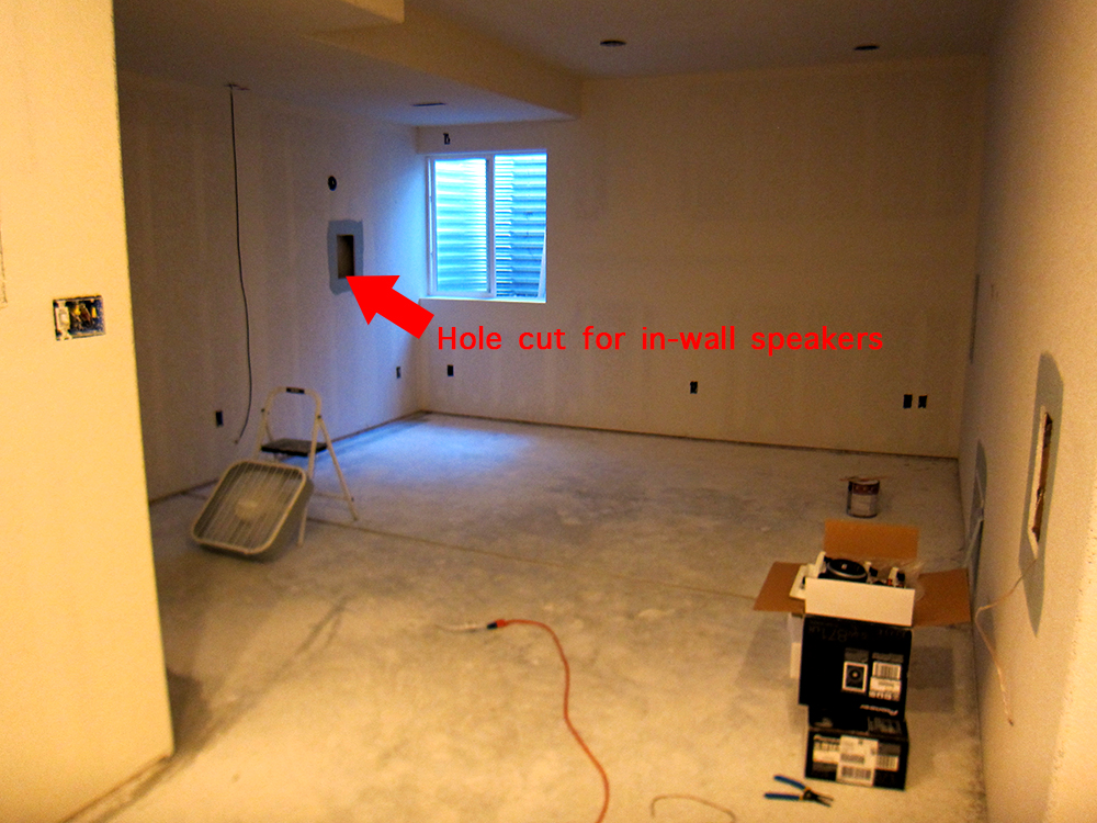 finish basement home theater before and after pictures rh howtofinishmybasement com installing speakers in basement Wiring Basement Wall
