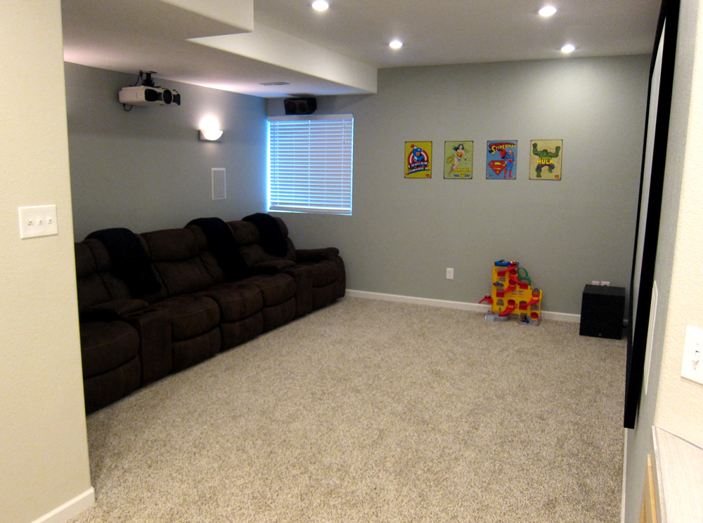 finish basement home theater before and after pictures rh howtofinishmybasement com Wiring a Basement Room Wiring Basement Wall